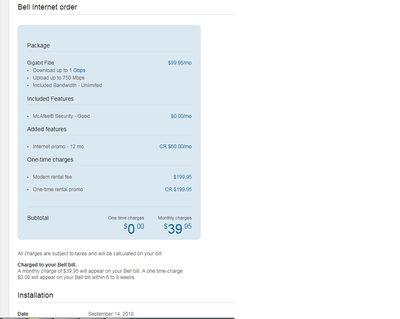 Bell Bell Internet Fibe 500 34 95$, Gigabit 39 95$ ) | LavaHotDeals com