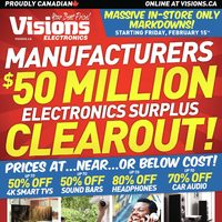 Visions Electronics - Weekly - Manufacturers $50 Million Electronics Surplus Clearout! Flyer