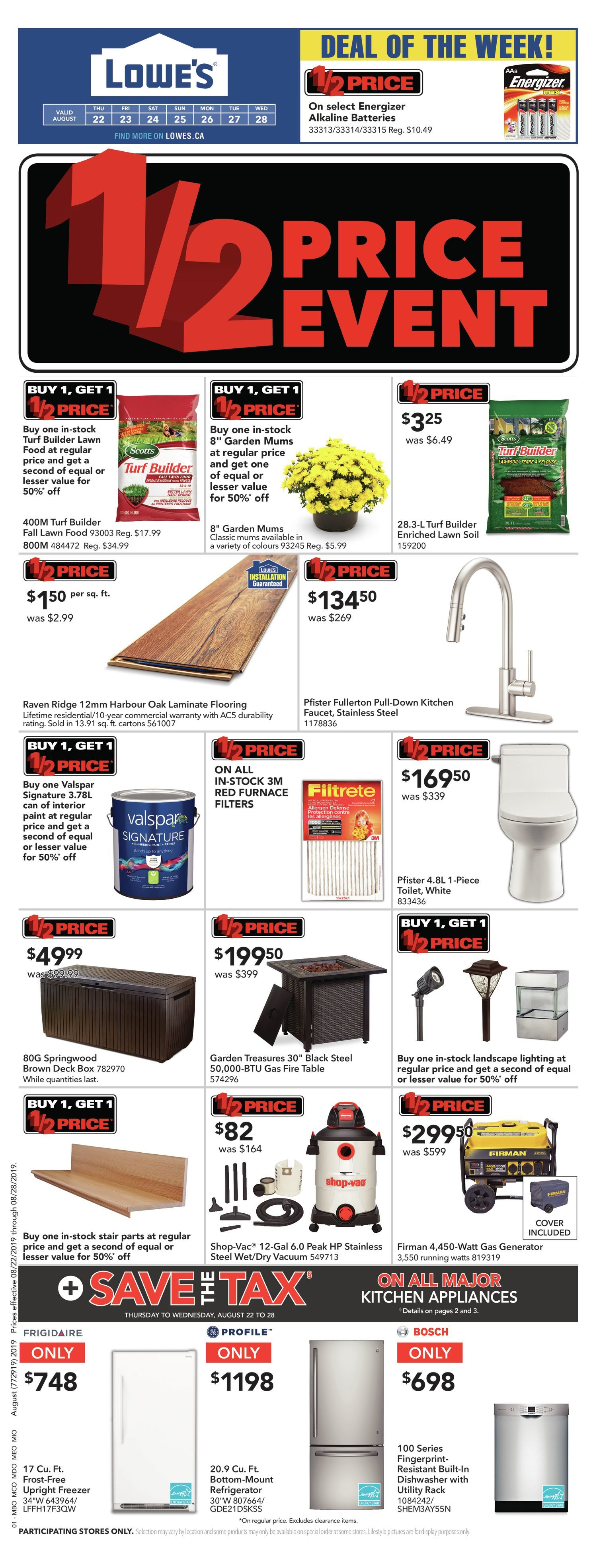 Lowe's Weekly Flyer - Weekly - 1/2 Price Event - Aug 22 – 28