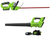 Greenworks 24 Volt Hedge Trimmer And Axial Blower Combo Kit