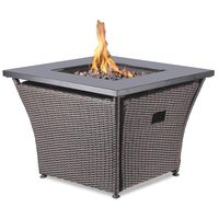 "32"" Square Wicker Gas Fire Table"