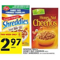 General Mills Honey Nut Cheerios, Post Shreddies