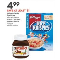 Kellogg's Cereal Or Nutella Chocolate Hazelnut Spread