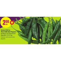 Green Chili Or Thai Chili Hot Peppers