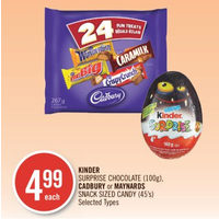 Kinder Surprise Chocolate, Cadbury Or Maynards Snack Sized Candy