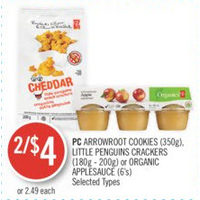 PC Arrowroot Cookies, Little Penguins Crackers Or Organic Applesauce