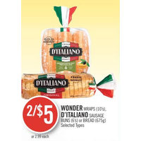 Wonder Wraps, D'Italiano Sausage Buns Or Bread