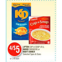 Lipton Cup-A-Soup, Knorr Sidekicks Or Kraft Dinner