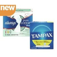 Always Pads or Liners or Tampax Tampons