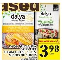 Daiya Deliciously Dairy Free Cream Cheese, Slices, Shreds or Blocks