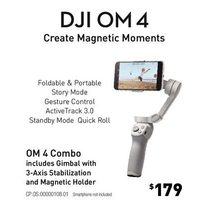 DJI OM 4 Combo Gimbal with 3 - Axis Stabilization and Magnetic Holder