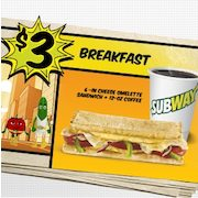 Subway Restaurants: Get a Breakfast Sandwich & Coffee For $3, Limited Time Only
