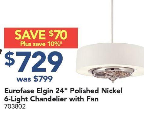 Lowes eurofase elgin 24 polished nickel 6 light chandelier with fan redflagdeals com