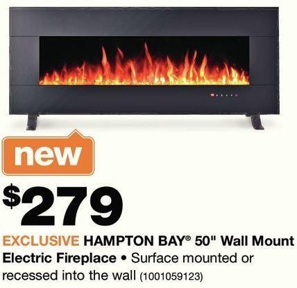 Home Depot Hampton Bay 50 Wall Mount Electric Fireplace