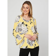 Floral Print Bell Sleeve Blouse - $59.99 ($38.01 Off)