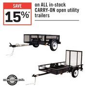 All In-Stock Carry-On Open Utility Trailers  - 15% off