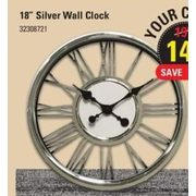 "18"" Silver Wall Clock - $14.97 (25% off)"