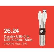Duratek USB-C to USB-A Cable, Black - $26.24