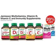 Jamieson Multivitamins, Vitamin D, Vitamin C and Immunity Supplements  - 20% off