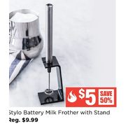 Ksp Stylo Battery Milk Frother W/stand 20.5 Cm St/steel - $5.00 (50% off)