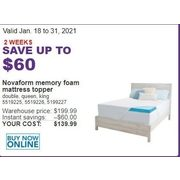 Novaform Memory Foam Mattress Topper - $139.99 (Up to $60.00 off)